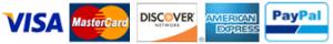 Visa - MasterCard - Discover - American Express - PayPal logos