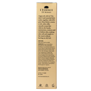 L'Essence De Boshea Argan Oil Hand Cream, 5 Ounces, Back of Carton