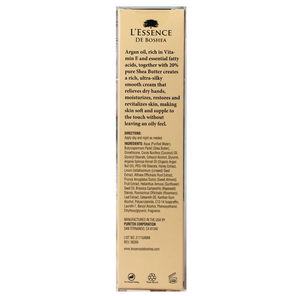 L'Essence De Boshea Argan Oil Hand Cream, 5 Ounces, Back of Carton