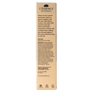 L'Essence De Boshea Kukui Nut Oil Hand Cream, 1 Ounce, Back of Carton