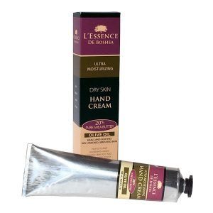 L'Essence De Boshea Olive Oil Hand Cream, 5 Ounce Tube and Front of Carton