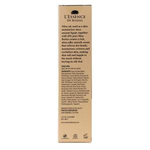 L'Essence De Boshea Olive Oil Hand Cream, 5 Ounce, Back of Carton