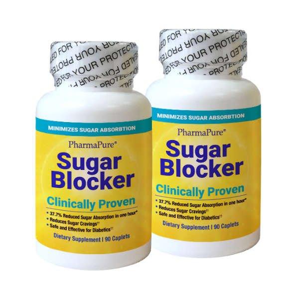 PharmaPure Sugar Blocker,90 Count, 2 Pack, Front of Bottle, Sealed