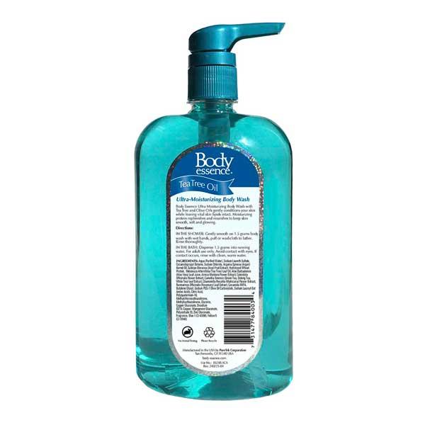 Body Essence Tea Tree Ultra Moisturizing Body Wash 28 oz Back Label