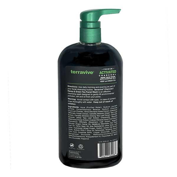Terravive Premium Activated Charcoal + Hemp Face Wash